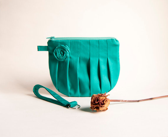 Green Turquoise Bridal Wedding Clutch or Bridesmaid Clutch, Pouch, Wristlet, Purse - Romantic Rosebud pleats by Lolos