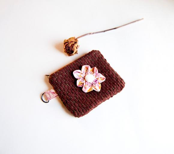 Garnet Burgundy Brown jacquard with a pink flower zippered little coin wallet, pouch, purse by Lolos