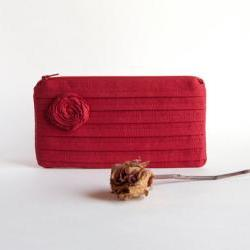 Red Bridal Wedding Clutch or Bridesmaids Clutch, Pouch, Purse - Romantic Rose pleats by Lolos