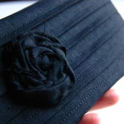 Black Bridal Wedding Clutch or Bridesmaid Clutch, Pouch, Purse - Romantic Rose pleats by Lolos